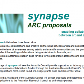 From Australia Council call for proposals for Synapse, 2002.