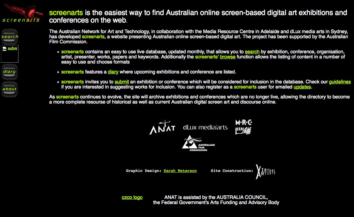 Screenshot from screenarts website (via waybackmachine)
