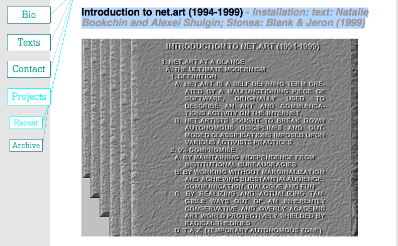 Introduction to net.art (1994-1999) - Installation: text: Natalie Bookchin and Alexei Shulgin; Stones: Blank & Jeron (1999)